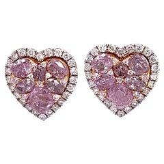 Ruchi New York Pink Diamond Heart Stud Earrings