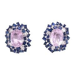 Ruchi New York Pink Kunzite Blue Sapphire and Diamond Earrings