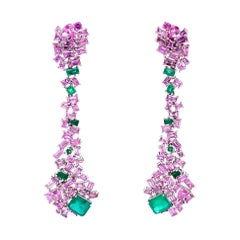 Ruchi New York Pink Sapphire and Emerald Earrings