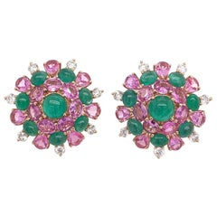 Ruchi New York Pink Sapphire, Diamond and Emerald Earrings