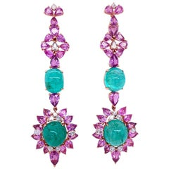 Ruchi New York Pink Sapphire, Emerald and Diamond Drop Earrings