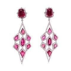 Ruchi New York Pink Tourmaline and Diamond Chandelier Earrings