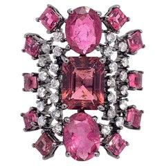 Ruchi New York Pink Tourmaline and Diamond Cocktail Ring