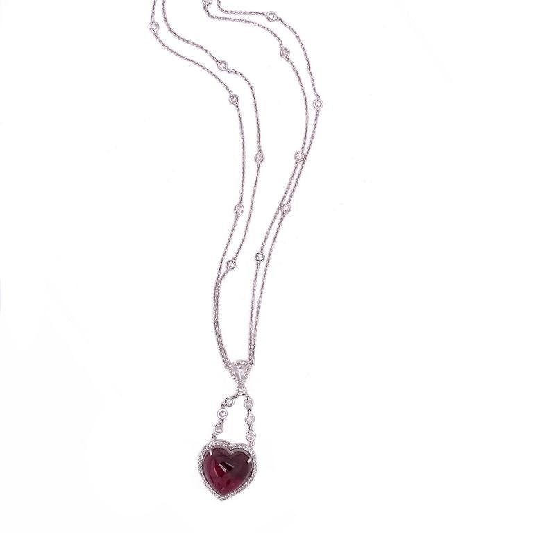 Contemporary Ruchi New York Pink Tourmaline and Rose Cut Diamond Heart Necklace For Sale