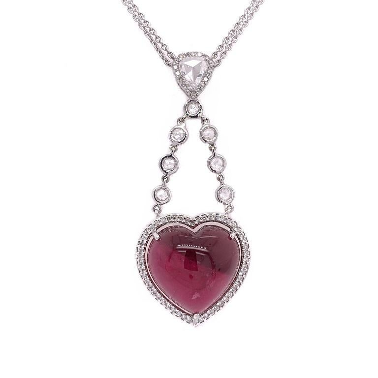 Mixed Cut Ruchi New York Pink Tourmaline and Rose Cut Diamond Heart Necklace For Sale