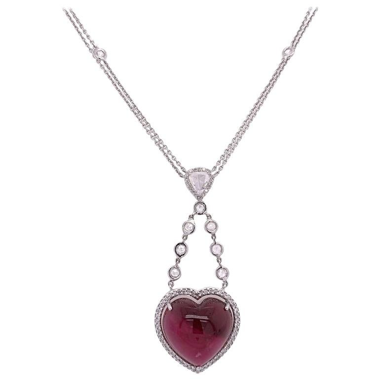 Ruchi New York Pink Tourmaline and Rose Cut Diamond Heart Necklace For Sale