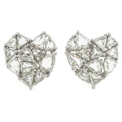 Ruchi New York Rose Cut Heart Shape Stud Earrings