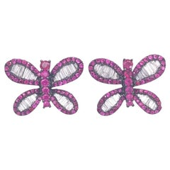 Ruchi New York Ruby and Diamond Butterfly Stud Earrings