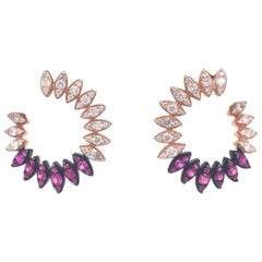 Ruchi New York Ruby and Diamond C-Shape Earring