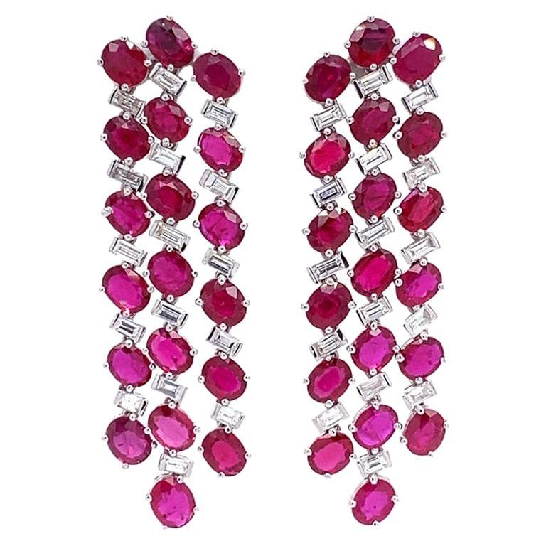 Ruchi New York Ruby and Diamond Chandelier Earrings