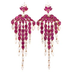 Ruchi New York Ruby and Diamond Chandelier Earrings