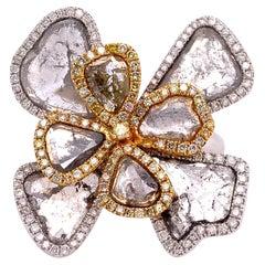 Ruchi New York Slice Diamond Cocktail Flower Ring
