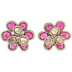 Ruchi New York Slice Ruby and Diamond Flower Clip-On Earrings