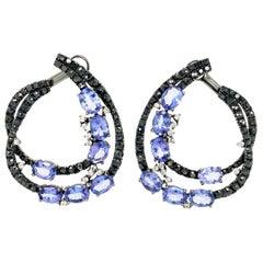 Ruchi New York Tanzanite and Black Diamond C-Shape Earrings