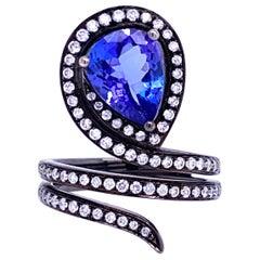 Ruchi New York Tanzanite and Diamond Wraparound Cocktail Ring