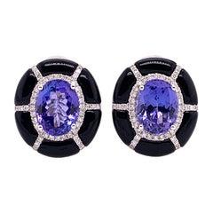 Ruchi New York Tanzanite, Diamond and Black Agate Earrings