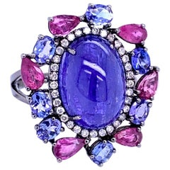 Ruchi New York Tanzanite, Pink Sapphire and Diamond Cocktail Ring
