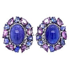 Ruchi New York Tanzanite, Pink Sapphire and Diamond Earrings