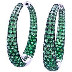 Ruchi New York Tsavorite Garnet Ombre Hoop Earrings
