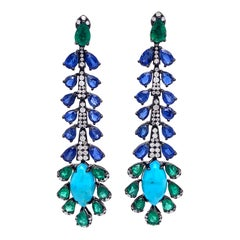 Ruchi New York Turquoise, Kyanite, Emerald and Diamond Earrings