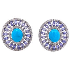 Ruchi New York Turquoise, Tanzanite and Diamond Earrings