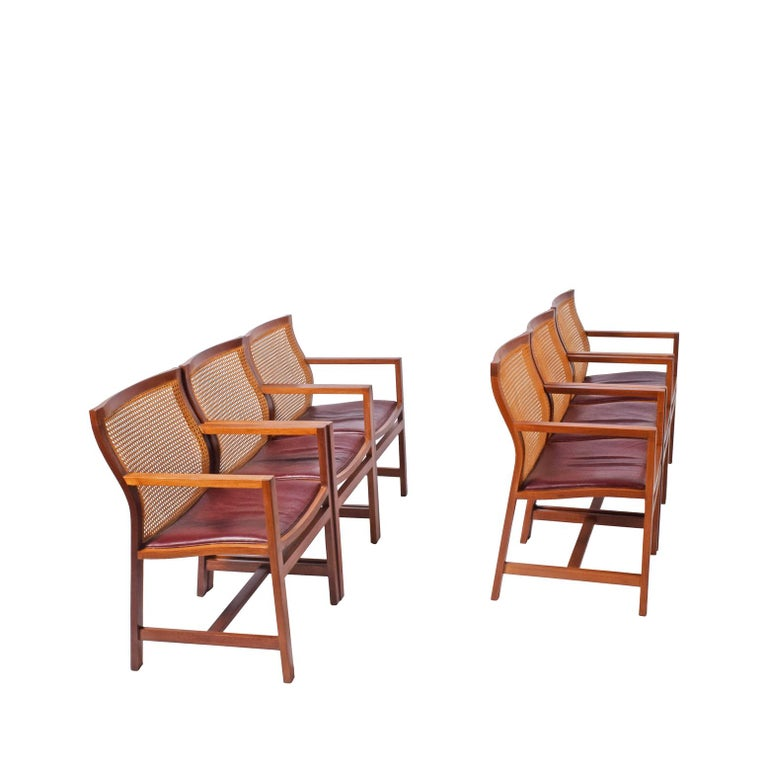 Solid mahogany set of six armchair design by Thygesen & Sørensen for Botium original condition, cane and leather