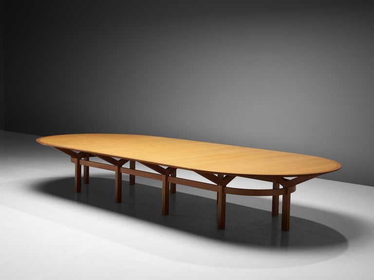 Rud Thygesen and Johnny Sørensen, conference table, teak, Denmark, circa 1950.