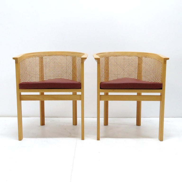 Wonderful Model 7703 armchairs designed by Rud Thygesen & Johnny Sørensen for Botium in 1989, beech frames with French wicker backs and dark red leather cushions, part of the 'King' series designed in 1969 as gifts for the Danish King Frederik IX