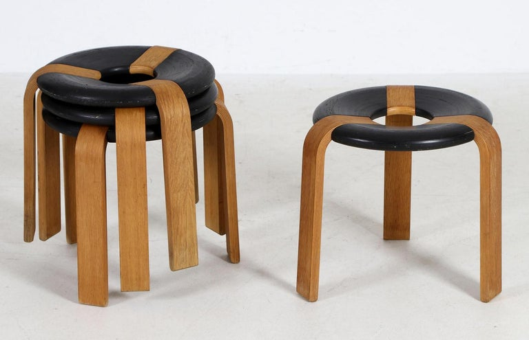 Bentwood stool designed by Rud Thygesenand Johhny Sørensen in the 1970s for Magnus Olsen. 