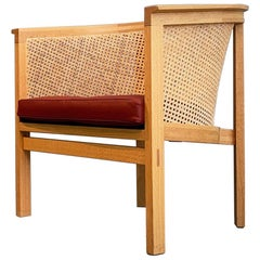 Rud Thygesen Easy Arm Chairs King Series Botium 1970s Cane Oak Leather