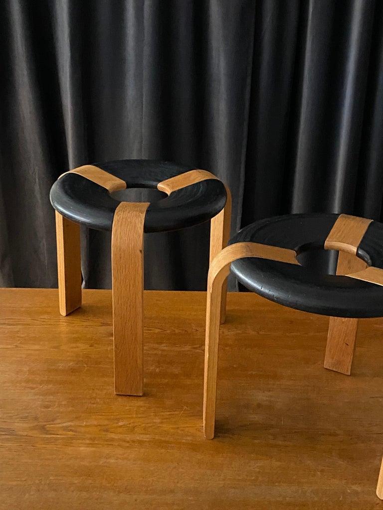 Modern Rud Thygesen, Stools, Oak, Black Painted Oak, for Magnus Olsen, Denmark, 1971 For Sale