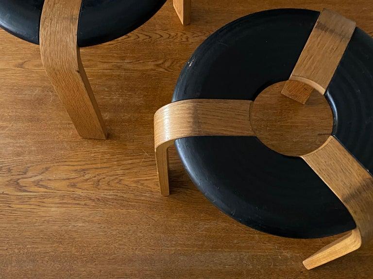Danish Rud Thygesen, Stools, Oak, Black Painted Oak, for Magnus Olsen, Denmark, 1971 For Sale