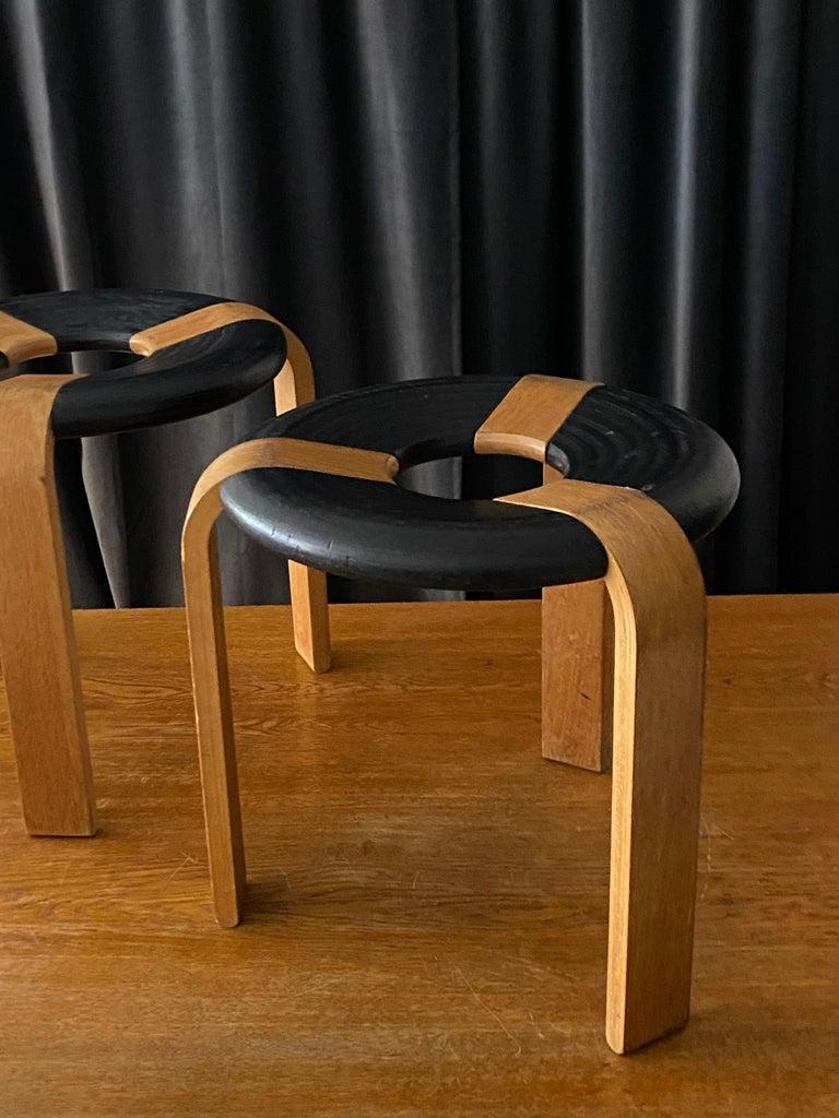 Rud Thygesen, Stools, Oak, Black Painted Oak, for Magnus Olsen, Denmark, 1971 In Good Condition For Sale In West Palm Beach, FL
