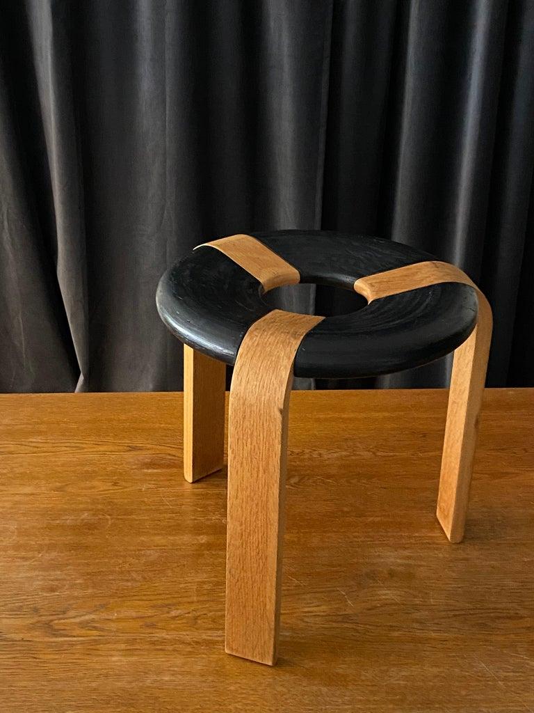 Late 20th Century Rud Thygesen, Stools, Oak, Black Painted Oak, for Magnus Olsen, Denmark, 1971 For Sale