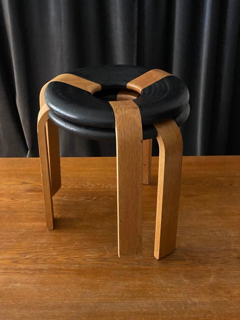 Rud Thygesen, Stools, Oak, Black Painted Oak, for Magnus Olsen, Denmark, 1971 For Sale 2