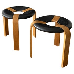 Rud Thygesen, Stools, Oak, Black Painted Oak, for Magnus Olsen, Denmark, 1971