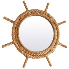 Rudder Shaped Rope Mirror by Audoux Minet, France, 1960s