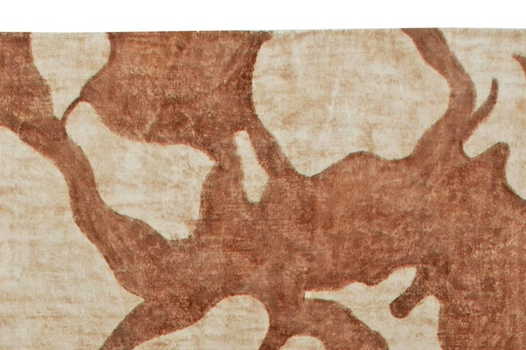 Ruddy Brown Modern Abstract Rug In New Condition For Sale In New York, NY