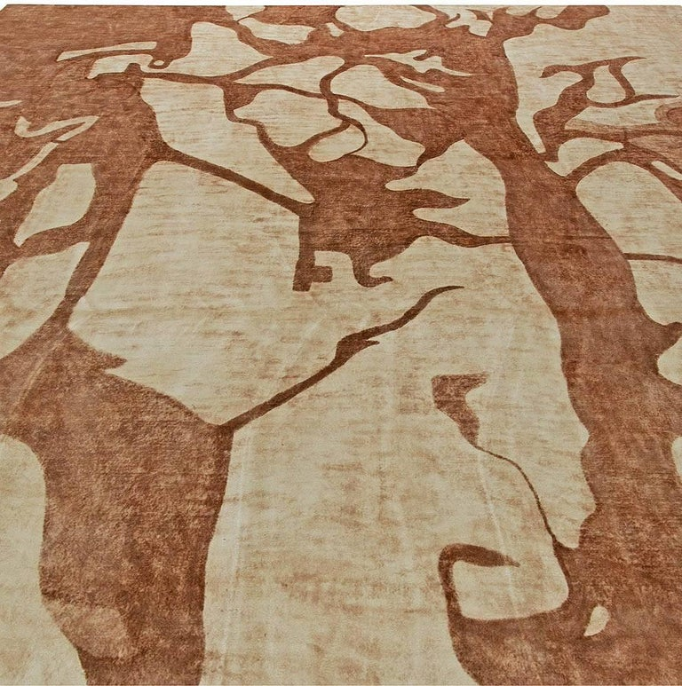 Silk Ruddy Brown Modern Abstract Rug For Sale