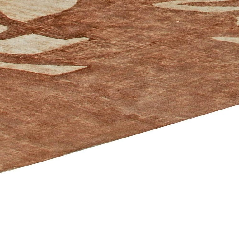 Ruddy Brown Modern Abstract Rug For Sale 1