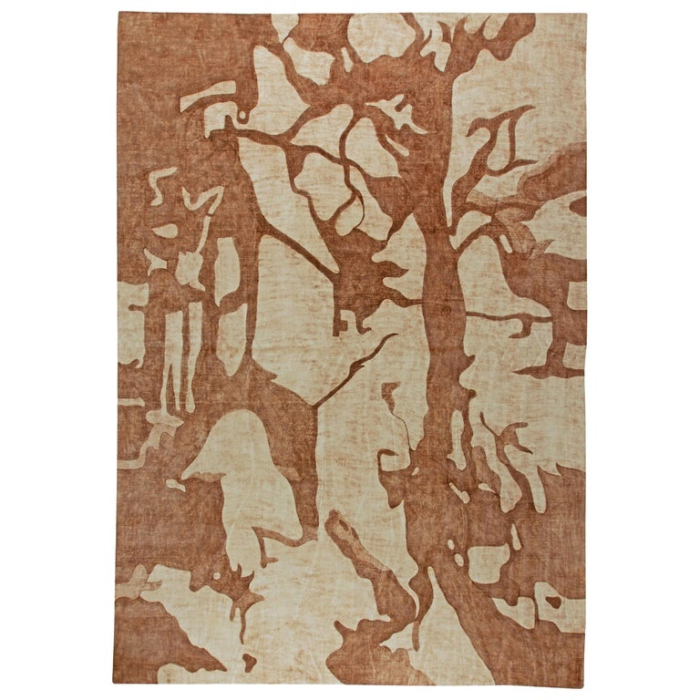 Ruddy Brown Modern Abstract Rug For Sale