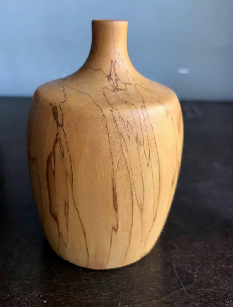 Modern Rude Osolnik Rare Pale, Gum Wood Turned Vessel / Vase For Sale