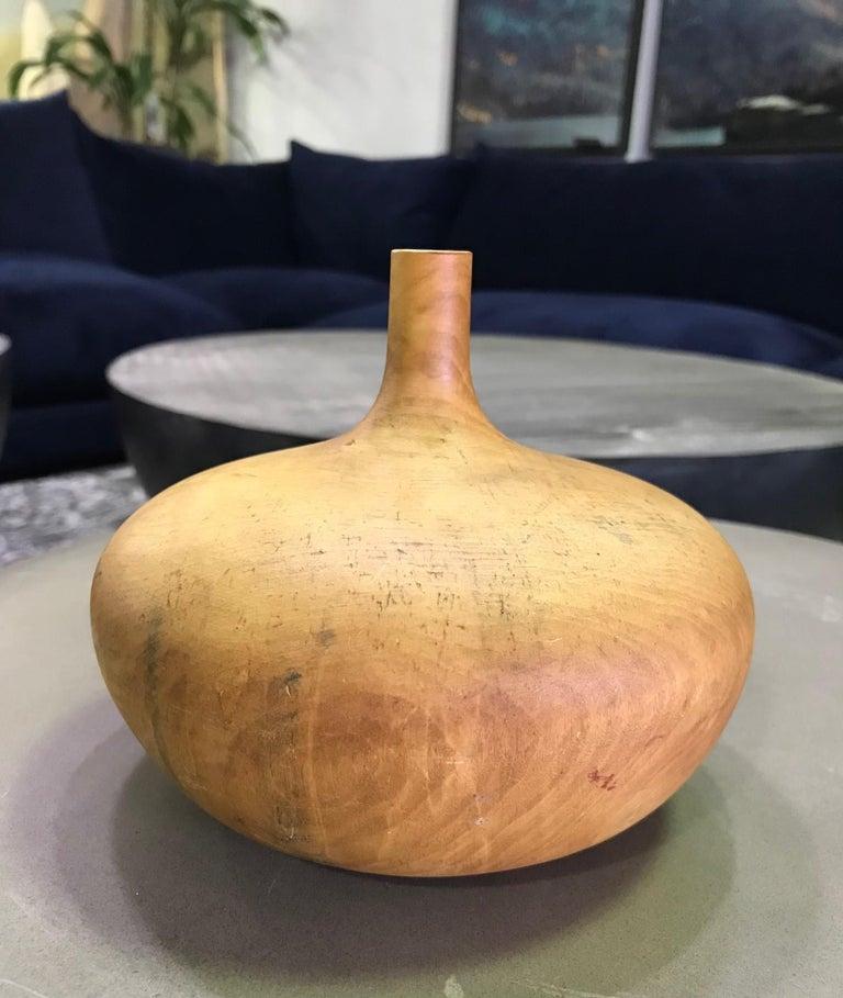 Mid-Century Modern Rude Osolnik Signed Rare Large Pale Buckeye Wood Turned Vessel Bud Weed Vase