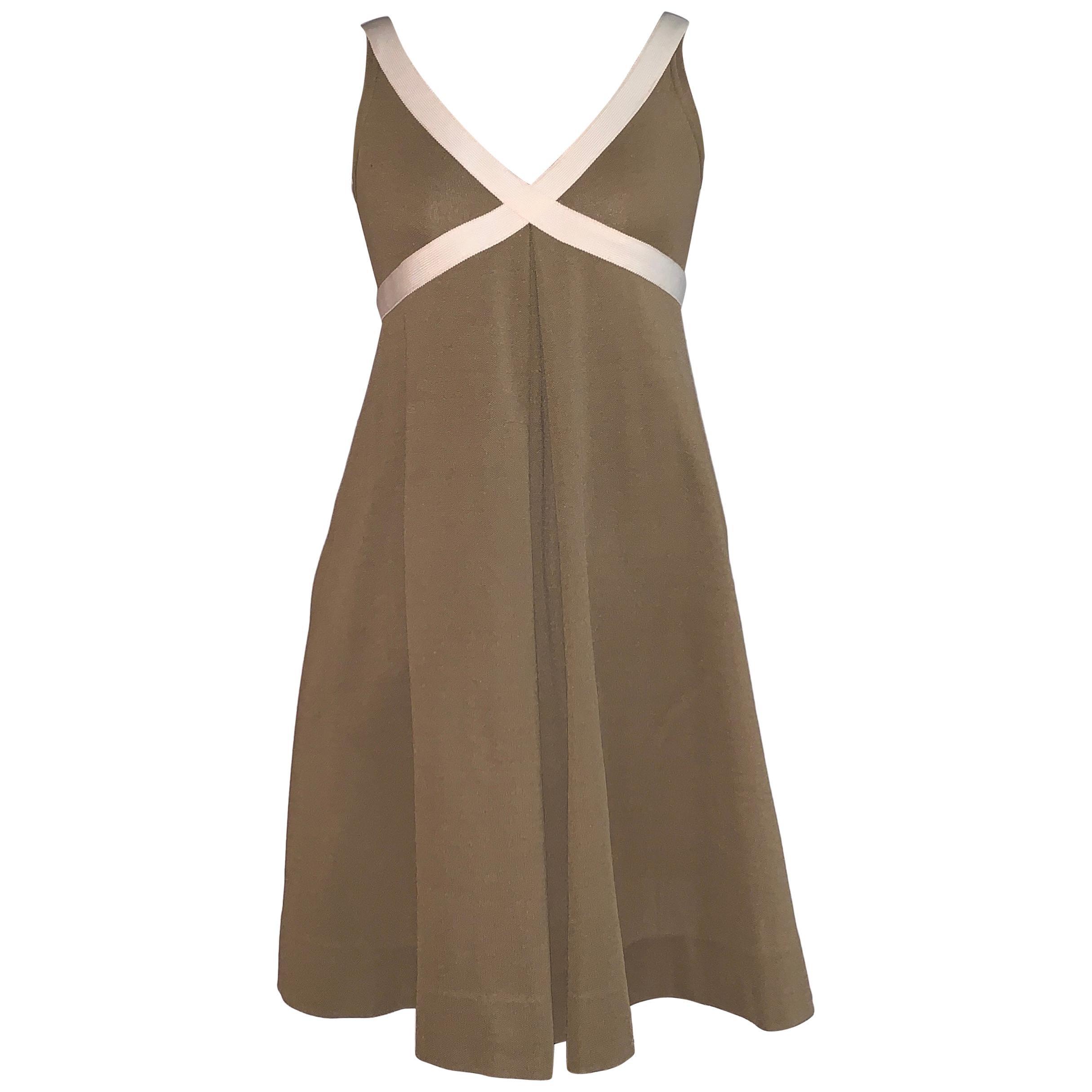 Rudi Gernreich 1960s Knit Cross My Heart Dress in Brown and Cream