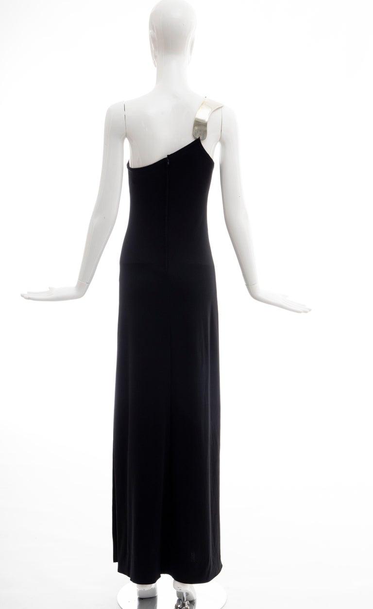 Rudi Gernreich Black Jersey Dress with Sculpted Aluminum Shoulder, Spring 1975 For Sale 6
