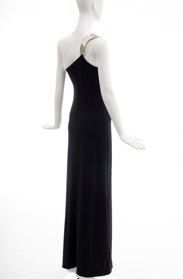 Rudi Gernreich Black Jersey Dress with Sculpted Aluminum Shoulder, Spring 1975 For Sale 8