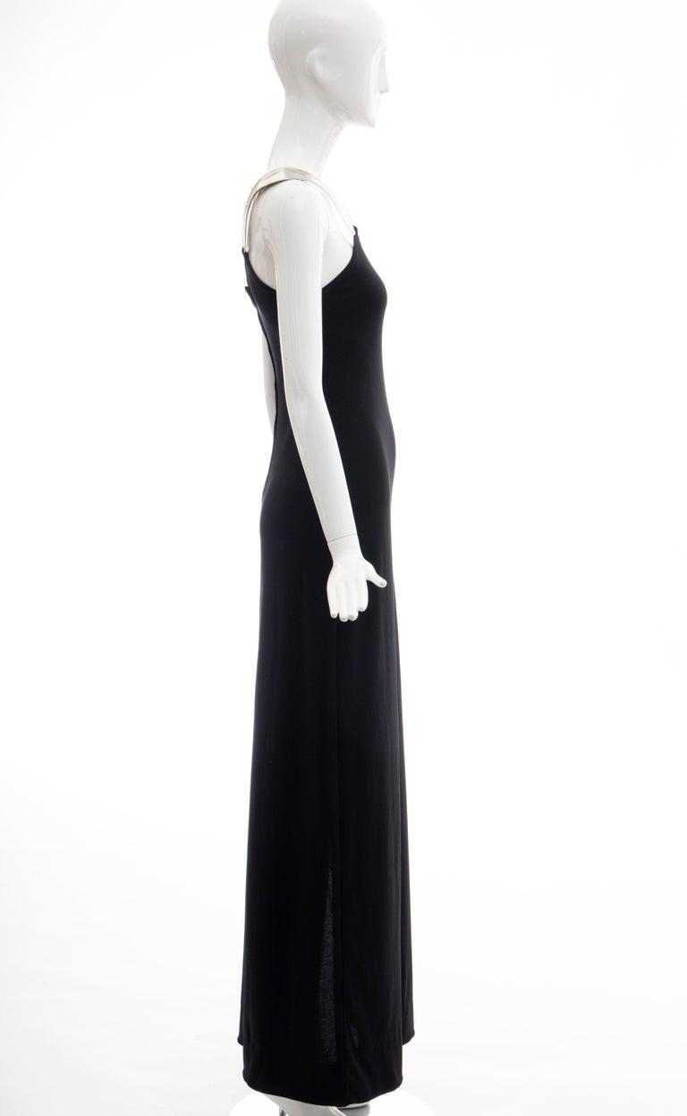 Rudi Gernreich Black Jersey Dress with Sculpted Aluminum Shoulder, Spring 1975 For Sale 9