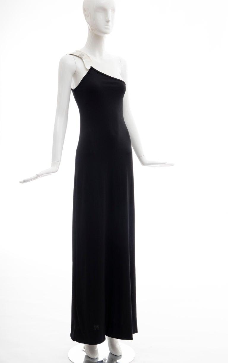 Rudi Gernreich Black Jersey Dress with Sculpted Aluminum Shoulder, Spring 1975 For Sale 10