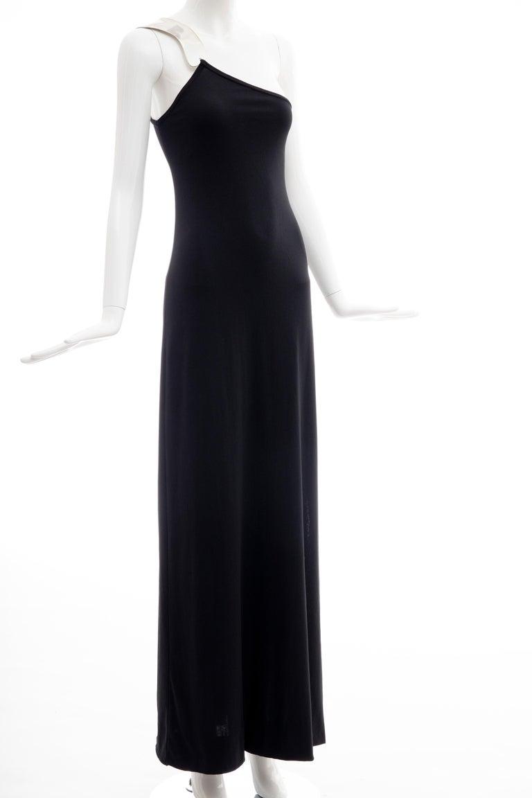 Rudi Gernreich Black Jersey Dress with Sculpted Aluminum Shoulder, Spring 1975 For Sale 11