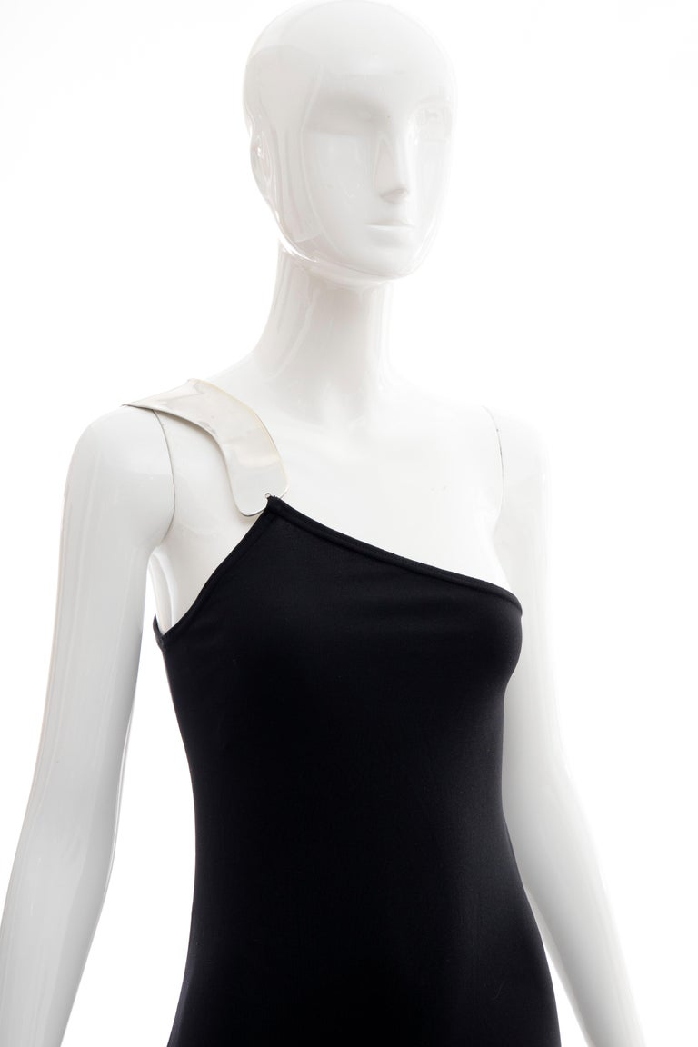 Rudi Gernreich Black Jersey Dress with Sculpted Aluminum Shoulder, Spring 1975 In Excellent Condition For Sale In Cincinnati, OH